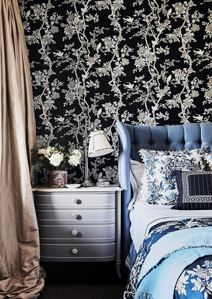 Lauren also believes in the power of pattern and colour to resolve small spaces. Ralph Lauren 'Marlowe Floral' wallpaper in Prussian Blue, Radford. Custom bed from Montique Exclusive Furniture covered in Schumacher 'Lange' glazed linen in Delft. Pimlico table lamp, Laura Kincade. Designer buy: Montataire nightstand with stone top, $2345, Max Sparrow.