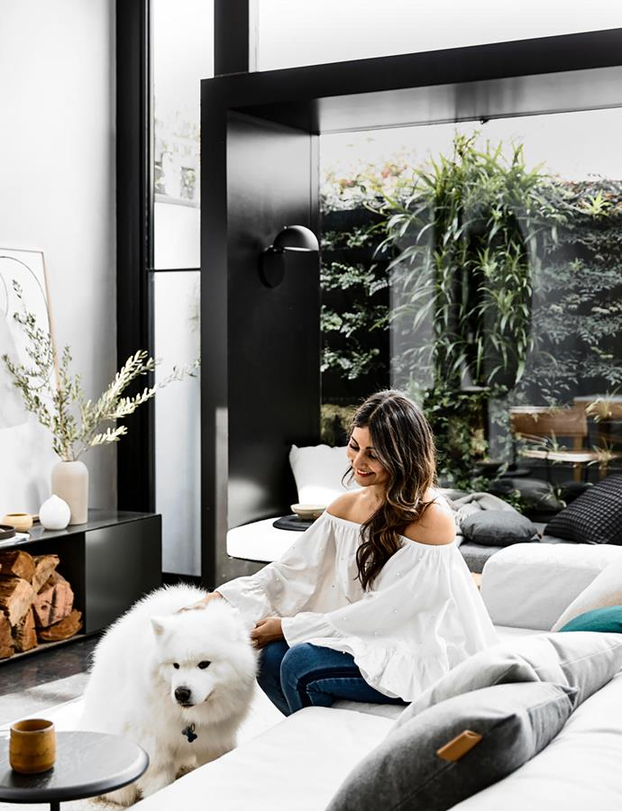 Beloved 10-year-old samoyed Roy was a key consideration in the renovation of this home by Meera Sudra and her partner Jared Byass.