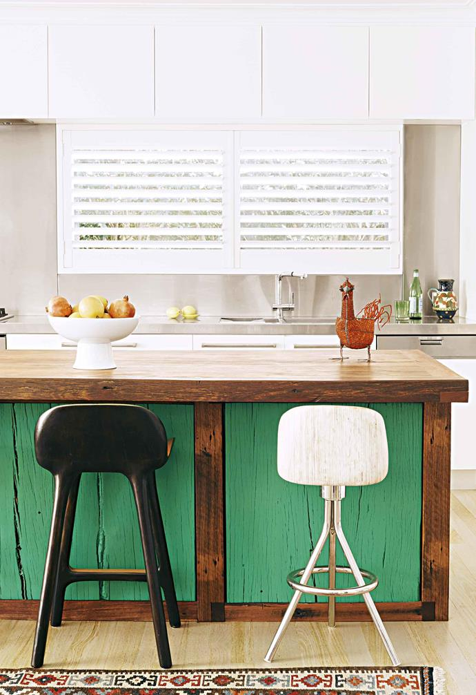 "Aiming for a more DIY approach? In this [colourful beach home](https://www.homestolove.com.au/come-inside-this-colourful-beach-home-17024|target=""_blank""), painted panels add to the charm of this space accented with vintage furnishings."