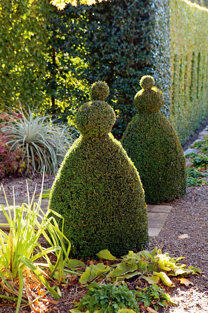 """A pair of topiary shapes that Craig calls """"ducks."""" The garden at Sunnymeade is essentially a series of superb garden pictures. In spring, it's bulbs and blossoms; in summer, the roses are at their peak, while in autumn the many deciduous trees and hedges are in brilliant colour against the bleached Australian landscape."""