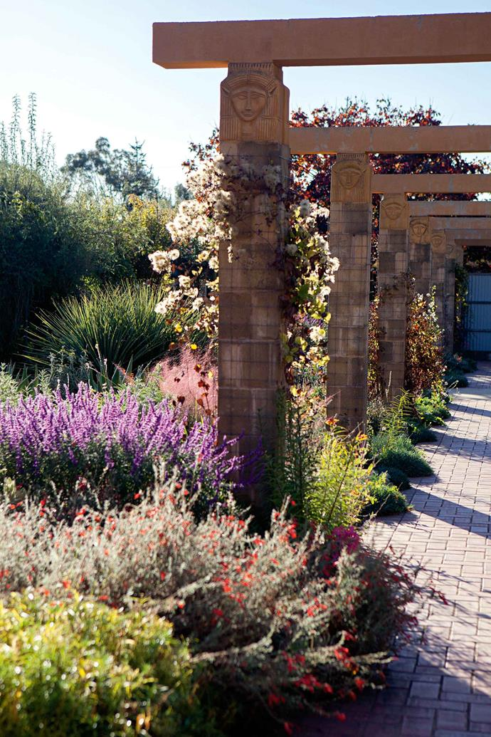 """Hathor's Garden — the emblem of the Eygptian goddess appears on several structures — contains dry-tolerant perennials and bulbs from Mediterranean climates """"that get very little water during summer."""""""