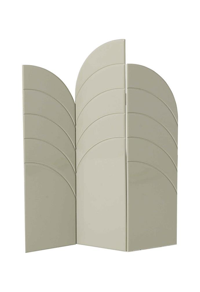 "Ferm Living 'Unfold' room divider in Grey, $2849, [Designstuff](https://www.designstuff.com.au/|target=""_blank""|rel=""nofollow"")."