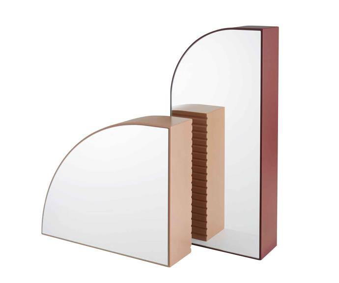 """Ligne Roset 'Areau' hand mirrors, $1075 (small) and $1195 (large), [Domo](https://www.domo.com.au/