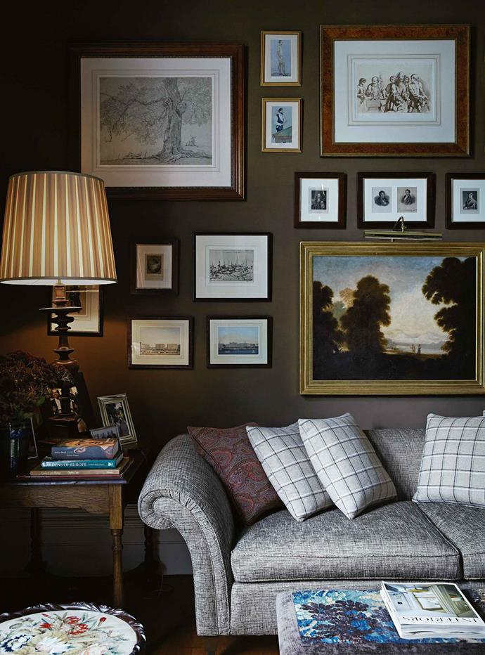 "A collection of antique prints and paintings hang in a corner of the sitting room. For Andrew and Nigel the house is a testament to the late [Stuart Rattle](https://www.homestolove.com.au/1930s-georgian-brick-home-honours-late-designers-vision-5654|target=""_blank""), the prominent interior designer. The three met when Stuart opened his enchanting Musk Farm garden as a fundraiser for the Friends of Wombat Hill Botanical Gardens at Daylesford. He became a close friend, and helped Andrew and Nigel create a home of impeccable style and character."