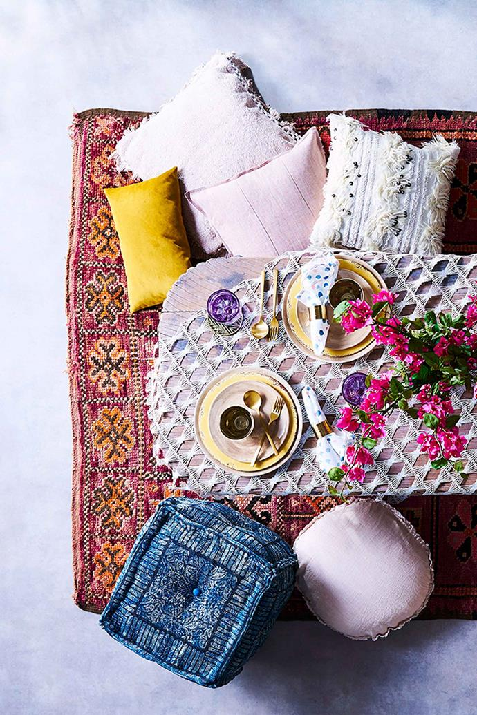 The key to creating a harmonious bohemian inspired table setting is to allow the colours and patterns to shine.