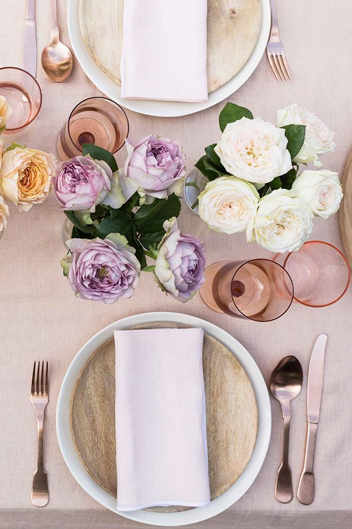 Roses are an elegant addition to any tablescape.