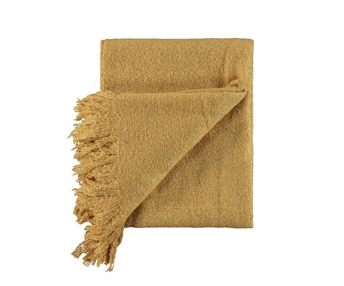 "Layer up with this earthy gold look [Lyla Throw, $12](https://www.kmart.com.au/product/lyla-throw---gold-look/2410306#|target=""_blank""