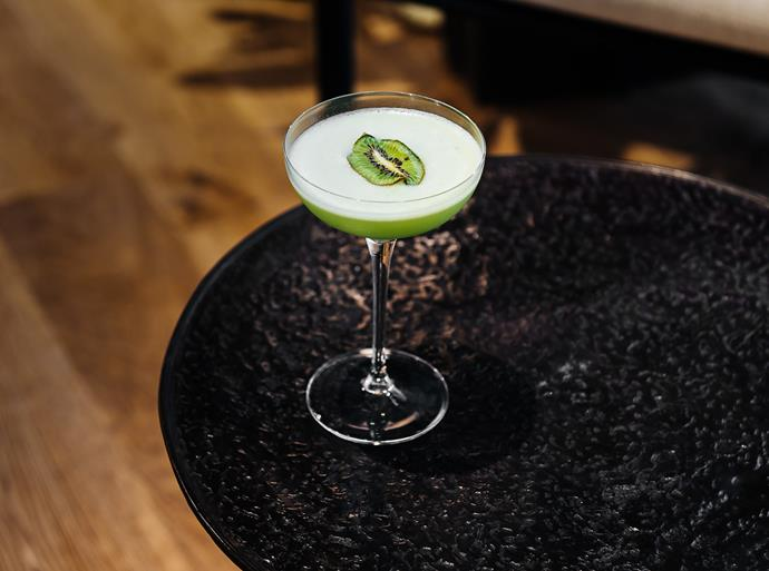 Inspired by Japan, the 'Arashiyama' cocktail evokes fresh bamboo forests with sake, Roku Gin and Kiwifruit and cucumber.