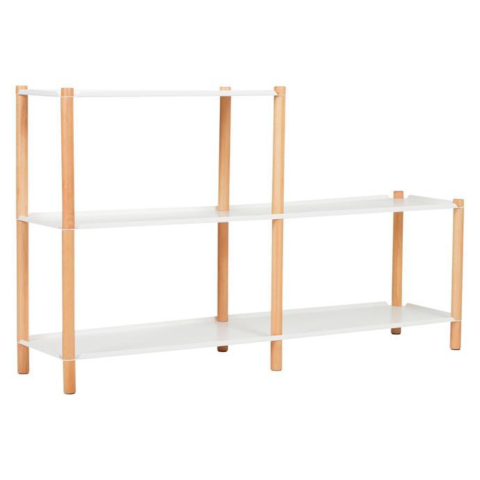 "Tove 2-Step shelving unit in White, $269.95, [Zanui](https://www.zanui.com.au/Tove-2-Step-Shelving-Unit-White-150326.html|target=""_blank""|rel=""nofollow"")."