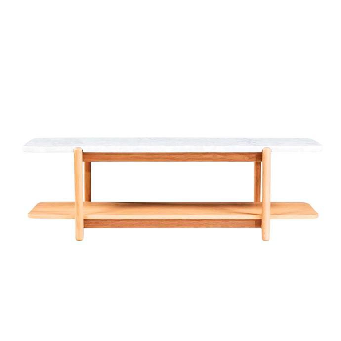 "Norah Marble coffee table, $899, [Life Interiors](https://www.lifeinteriors.com.au/life-interiors-norah-coffee-table-oak|target=""_blank""|rel=""nofollow"")."