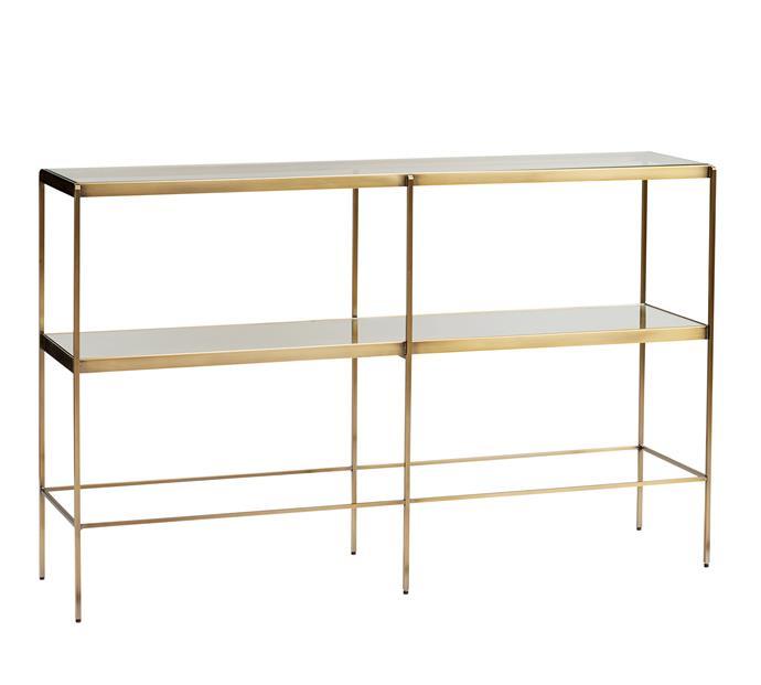"Leona console table, $799, [Pottery Barn](http://www.potterybarn.com.au/leona-brass-glass-skinny-console|target=""_blank""|rel=""nofollow"")."