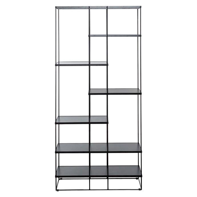 "'Stacks' 6 shelf bookshelf in Black, $599, [Freedom](https://www.freedom.com.au/furniture/living-storage/all-living-storage/23932432/stacks-6-shelf-bookshelf-black?reflist=furniture/living-storage|target=""_blank""|rel=""nofollow"")."