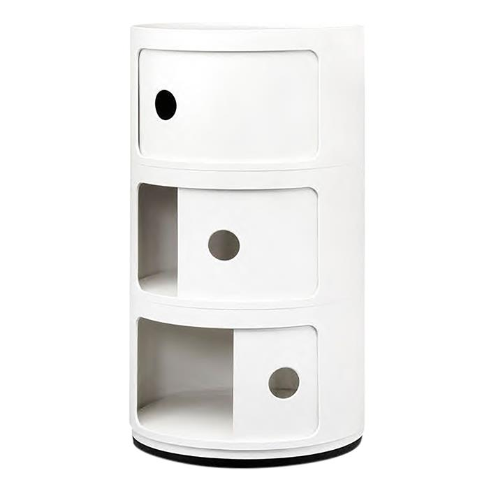 """Kartell """"Componibili"""" 3 Round module in White, $190, [Space Furniture](https://www.spacefurniture.com.au/componibili-3-round.html