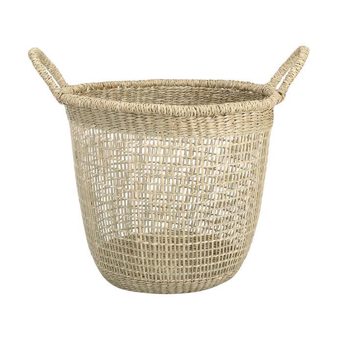"Seagrass basket, $14, [Kmart](https://www.kmart.com.au/product/seagrass-tall-basket/1935813|target=""_blank""|rel=""nofollow"")"