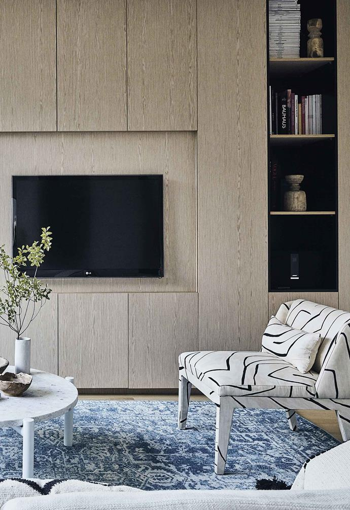 """**Living area** The contrasting rug is from [Temple & Webster](https://www.templeandwebster.com.au/
