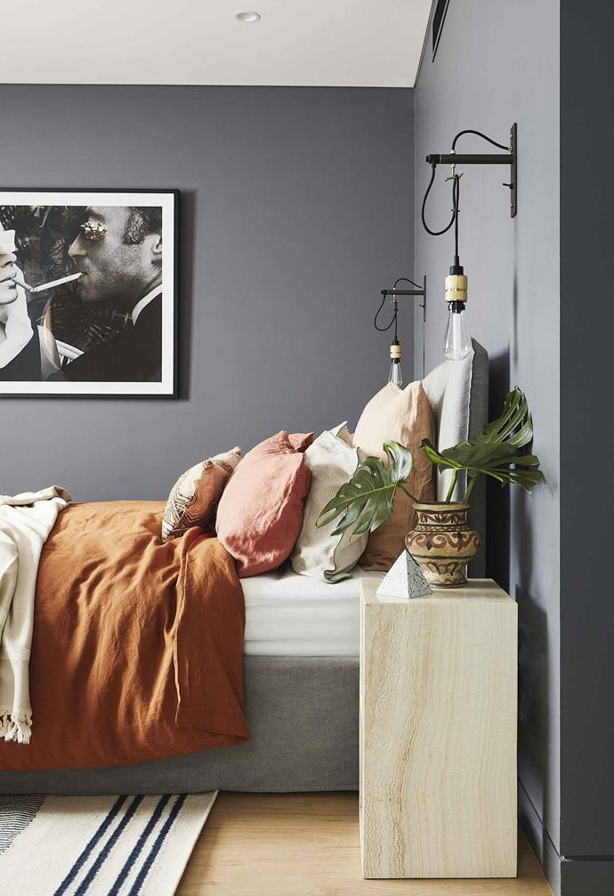 "**Main bedroom** Striking tobacco-coloured bed linen from [In Bed](https://inbedstore.com/|target=""_blank""