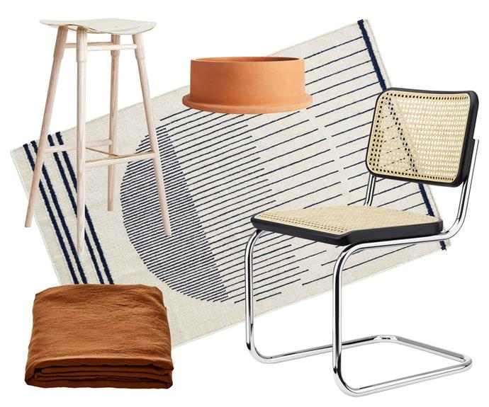 """**Scandi noir** Light up your natural oak and black palette with tobacco and terracotta accents. **Get the look** (clockwise from left) Dowel bar stool, from $890, [Mr Fräg](http://www.mrfrag.com/