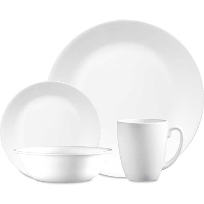 "<P>**DURABLE**<P> <p>Not only is the Corelle 'Winter Frost' 16-piece **dinner set** super light-weight, it is also chip and break resistant. Great for young families and those who want super strong serving ware on a day-to-day basis. <P> <P>'Winter frost' 16-piece dinner set, $41.30, from [Big W](https://www.bigw.com.au/product/corelle-winter-frost-white-16-piece/p/173426/|target=""_blank""
