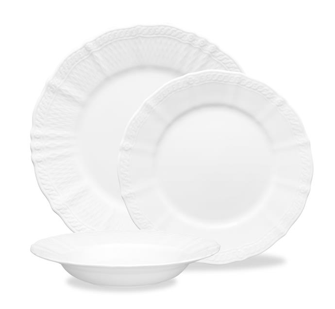 "<P>**HIGH END**<P> <p>The Noritake 'Cher Blanc' 12-piece **dinner set** is constructed using all-new porcelain technology. Not only are the plates dainty and light-weight, they're also more robust than other traditional porcelains. <p> <p>'Cher Blanc' 12 piece dinner set, $460, available at [Noritake](https://noritake.com.au/product/cher-blanc-12pce-dinner-set/|target=""_blank""