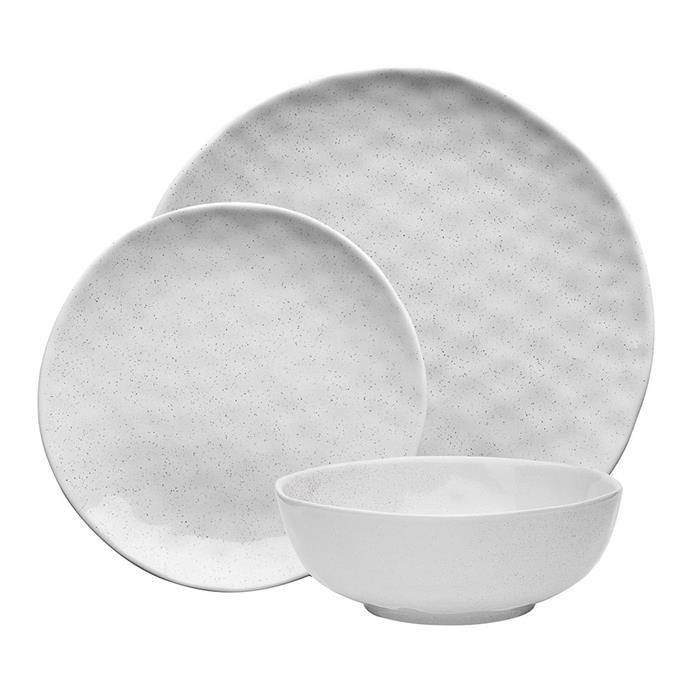 """<P>**TACTILE**<p> <P>The Ecology Speckle 12-piece dinner set in milk is for those who love contemporary crockery with texture and hand-crafted appeal. Constructed from stoneware, the organic shape and dimpled texture of this set will impress your guests every time.<P> <p>'Speckle' 12-piece dinner set in milk, $129.95, from [Kogan](https://www.kogan.com/au/buy/grb-ecology-speckle-milk-stoneware-12-piece-dinner-set-white-cwm-ec61235/
