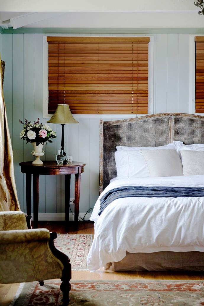 "Together owners Brigid and Kevin Nott adapted the Horgans bedhead to fit their bed. [The main bedroom's](https://www.homestolove.com.au/gallery-brigid-and-kevins-southern-highlands-barn-conversion-2076|target=""_blank"") bedside table, found at auction all split and scratched, showcases owner Kevin Nott's, talent for restoring antiques."