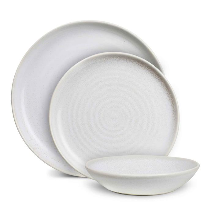 "**REACTIVE GLAZE**<p> <p>Robert Gordon have been producing quality pottery since 1945, and their 'Terra' dinnerware collection in the shade coast, is certainly no different. These Australian made plates are an investment piece, however, and will set you back a pretty penny.<p> <P>'Terra' place setting (which inclues 1x dinner plate, 1x side plade and 1x serving bowl), $120, available at [Robert Gordon](https://www.robertgordonaustralia.com/collections/australian-made-dinner-sets/products/terra-place-setting?variant=20143469920374|target=""_blank""