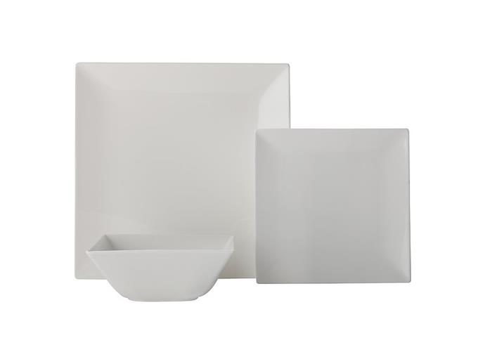 "**SQUARE**<p> <p>Square plates are a divisive choice, but do create a clean, symmetrical dinner setting if that's your thing. With slightly curved edges and a barely-there border, Maxwell & Williams' Basics 'Linear' 12-piece **dinner set** is a top choice.<p> <P>'White basics linear' 12-piece dinner set, $119.95, from [Maxwell & Williams](https://www.maxwellandwilliams.com.au/product/white-basics-linear-dinner|target=""_blank""