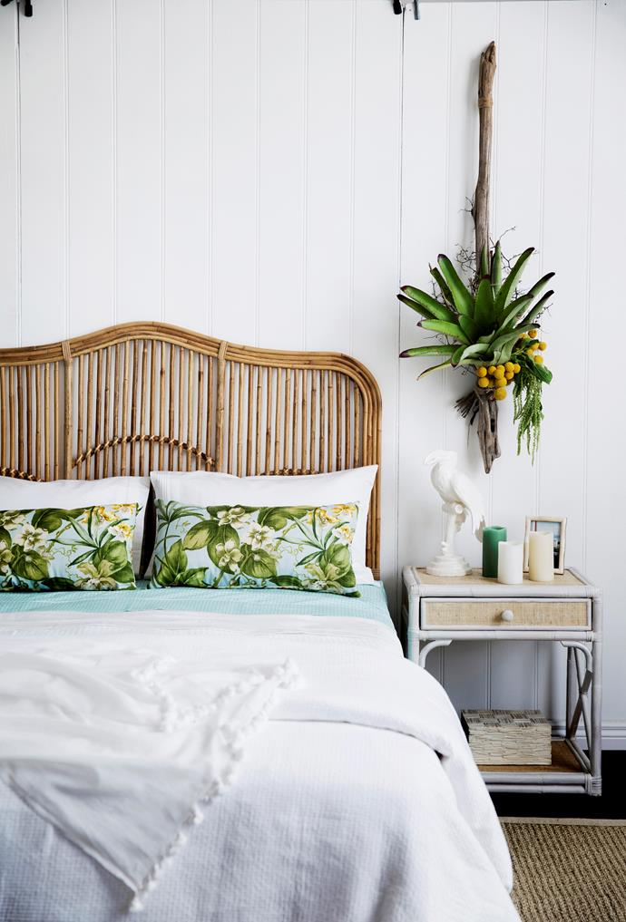 A tropical sensibility pervades this playful bedroom which features a Lincoln Brooks Brookhaven queen-size rattan bedhead.