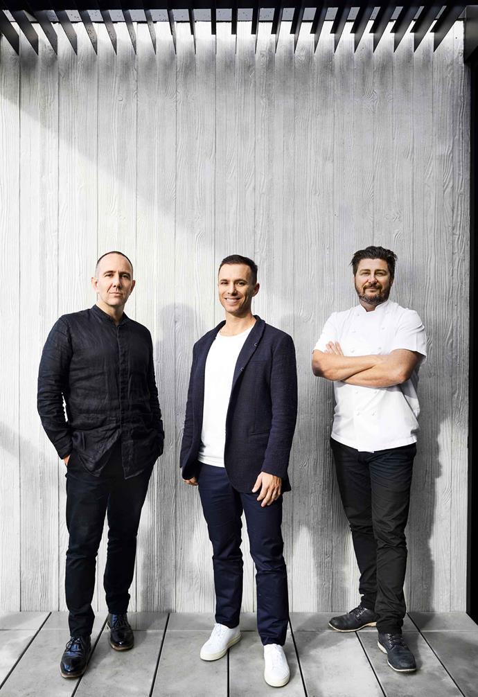 Architect Chris McCue, owner Darren Rubenstein and Matilda 159 Domain chef Scott Pickett.