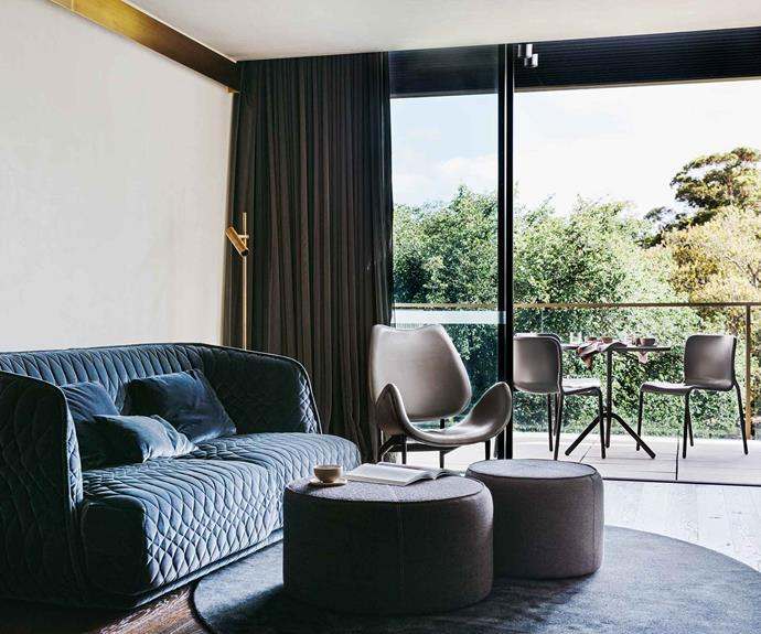 Two-bedroom Garden Suites have their own living space, complete with Grant Featherston chairs.