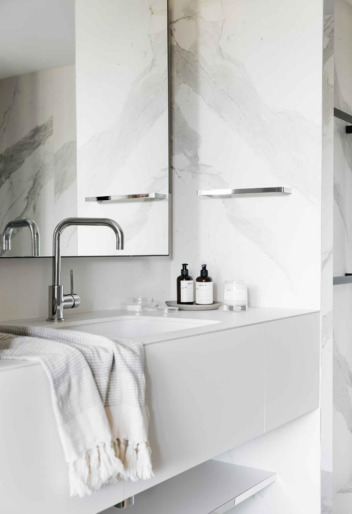 Marble surfaces and Le Labo products are standard in all the bathrooms.
