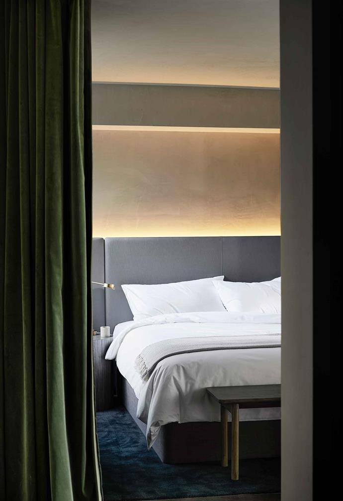 The one-bedroom Garden Suites have a motorised green-velvet curtain surrounding the bed while the Urban Suites have a pink version.