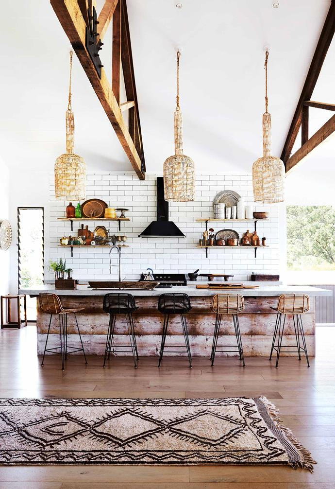 "**Kitchen** A sense of intimacy is achieved through the use of warm timbers and rattan pendant lights from [Bisque Interiors](https://www.bisquetraders.com.au/|target=""_blank""