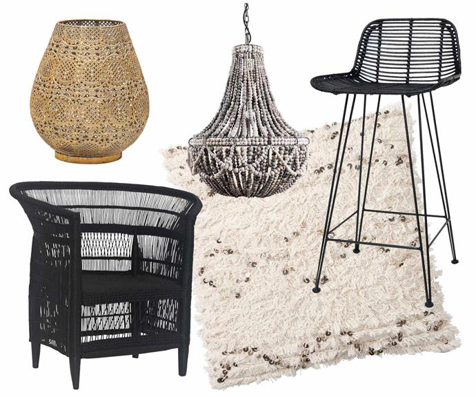 **Bohemian rhapsody** Is this the real life? Is this just fantasy? Select the right pieces and it can be both. **Get the look** (clockwise from left) 'Nenet' lantern, $24.95, [Amart Furniture](https://www.amartfurniture.com.au/). 'Frill' pendant light, from $2198, [Klaylife](https://klaylife.com/). HK Living 'Rattan' bar stool, $349, [House Of Orange](https://www.houseoforange.com.au/). Moroccan wedding blanket cushion cover, $104 (excludes insert), [Pottery Barn](http://www.potterybarn.com.au/). 'Malawi' dining chair, $579, [Uniqwa Furniture](https://uniqwafurniture.com.au/).