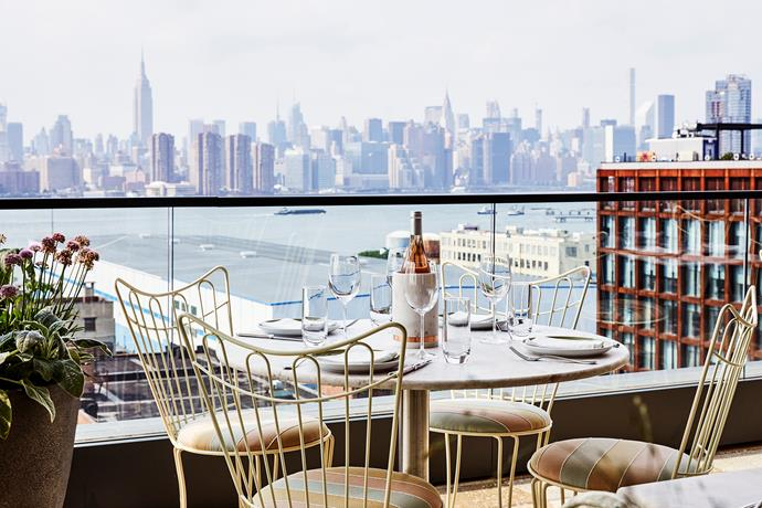 Sip cocktails as you gaze out at the breathtaking New York skyline.