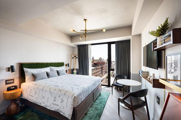 All rooms have desks, open wardrobes, chic brass accents and jewel-toned mohair headboards. They come in two sizes, the Cosy and the larger Roomy.