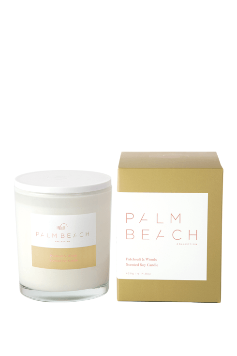 "Patchouli & Woods Standard Candle, $39.95, [Palm Beach Collection](https://palmbeachcollection.com.au/product/patchouli-woods-standard-candle/|target=""_blank""