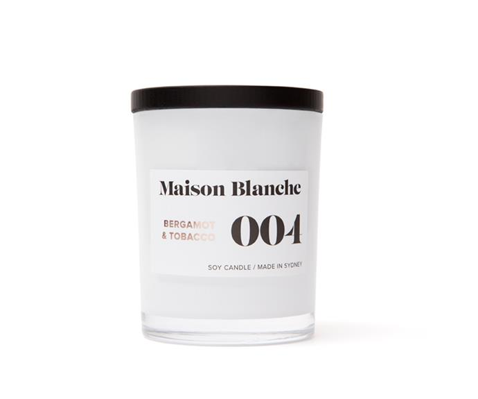 "004 Bergamot & Tobacco Medium Candle, $32, [Maison Blanche](https://www.maisonblanche.com.au/004-bergamot-tobacco-medium-candle|target=""_blank""