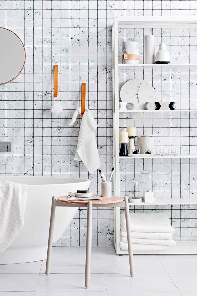 A free-standing shelf is a great renter-friendly storage solution for bathrooms with under-utilised floor space.