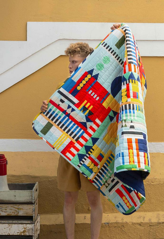 The textile was created in collaboration between Sindiso Khumalo, Renee Rossouw and Johanna Jelinek.