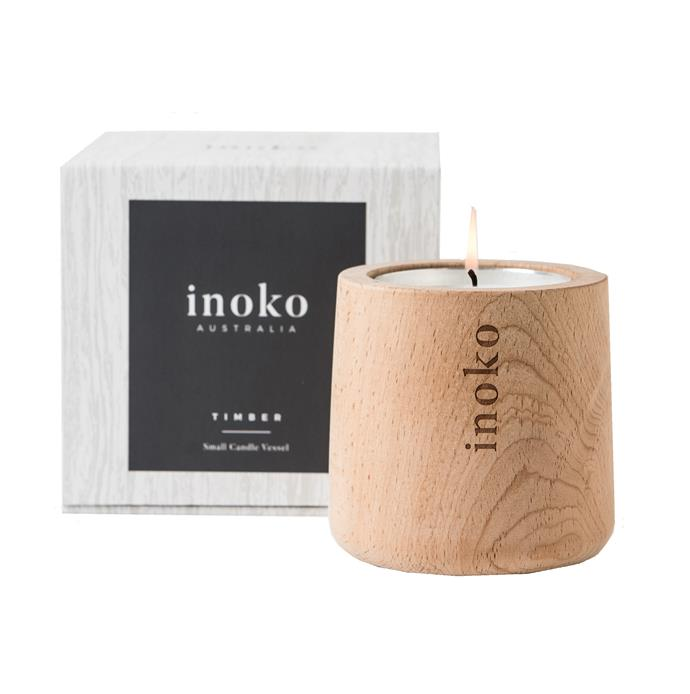 "Small Timber Candle Vessel with Amber & Burnt Fig refill, $65, [Inoko](https://www.inoko.com.au/product-page/small-timber-candles-vessel|target=""_blank""