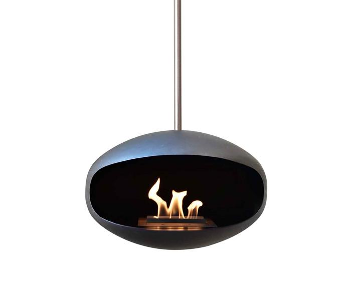 "Aeris suspended ethanol fireplace, $3495 (supply only), [Cocoon Fires](https://cocoonfires.com/|target=""_blank""