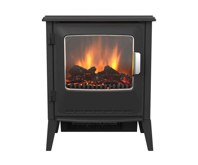 "Riley portable plug-in electric fireplace, $299.95, [Dimplex](http://glendimplex.com.au/|target=""_blank""