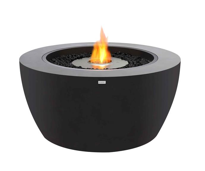 "Pod40 ethanol fire bowl in Graphite, $2495 (supply only), [EcoSmart Fire](https://ecosmartfire.com.au/|target=""_blank""