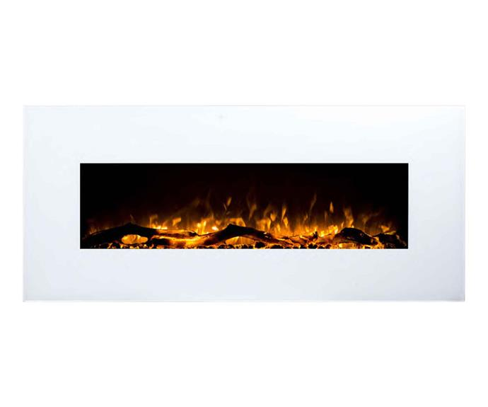 """Wilton electric fireplace, $489.99 (supply only), [Moda Living](https://modaliving.com.au/ target=""""_blank"""" rel=""""nofollow"""")."""