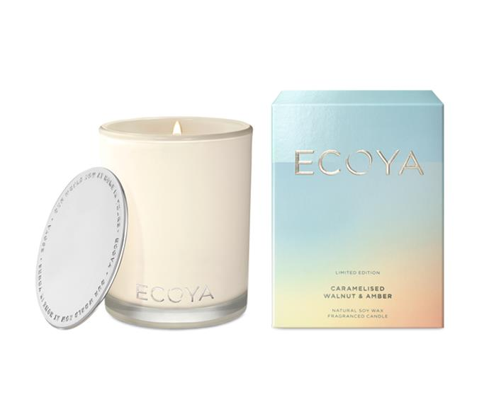 "Caramelised Walnut & Amber Madison Jar candle, $42.95, [Ecoya](https://www.ecoya.com.au/collections/limited-edition/products/caramelised-walnut-amber-madison-jar|target=""_blank""