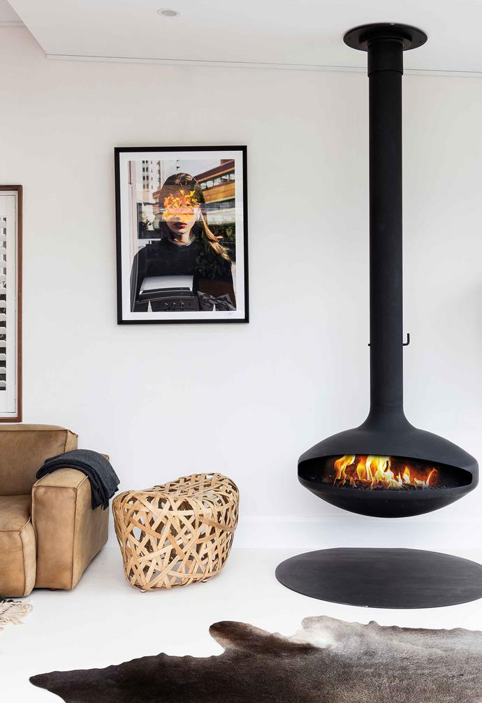 "Able to rotate 360 degrees, the Aether suspended wood-burning fireplace, $10,300 (supply only) from [Aurora Suspended Fires](https://aurorasuspendedfires.com/|target=""_blank""