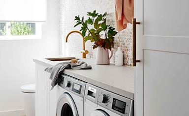 Clever storage ideas to make a laundry in bathroom combo work
