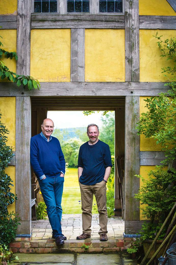 David (left) and Simon at the doorway of the dovecote, which has views in three directions.
