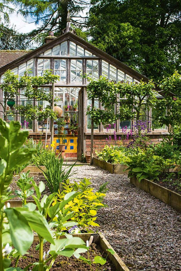 The Edwardian-era greenhouse lies beyond the kitchen garden.